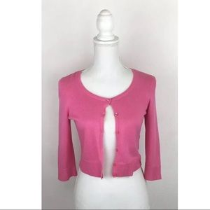 Lilly Pulitzer Pink Crop Button Front Cardigan ~S